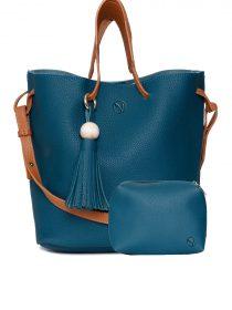 borsa donna azzurra con manico cuoio e pochette