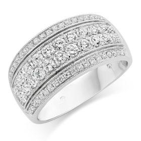 anello donna fascia 4 file strass