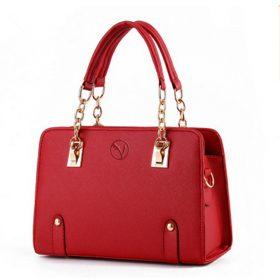 borsa donna con manico catena rossa
