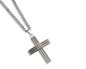 croce uomo acciaio a righe